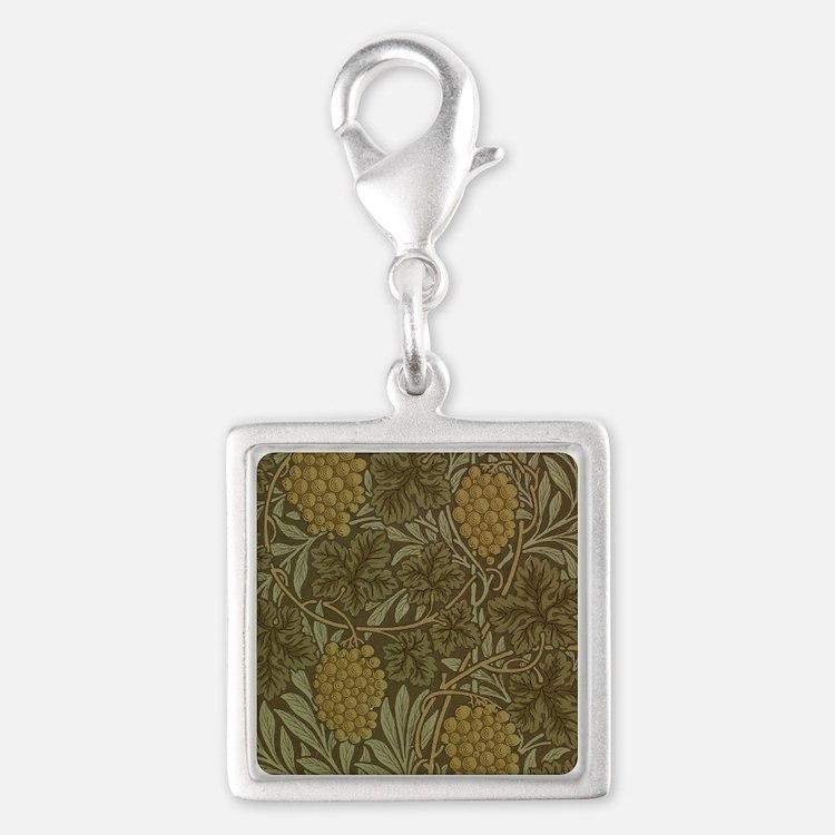 William Morris Vine Silver Square Charm