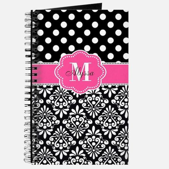 Pink Black Dots Damask Personalized Journal