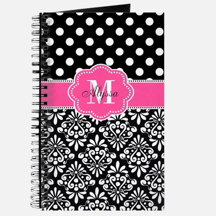 Pink Black Dots Damask Personalized Journal