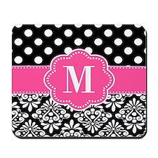 Pink Black Damask Dots Monogram Mousepad