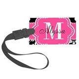 Pink black dot damask Luggage Tags