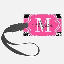 Pink Black Dots Damask Personalized Luggage Tag