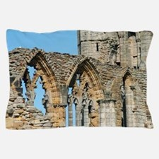 Graceful arches in Whitby Abbey ruins Pillow Case