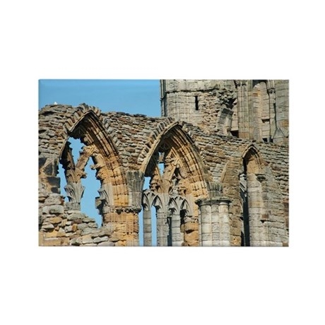 Graceful arches in Whitby Abbey r Rectangle Magnet