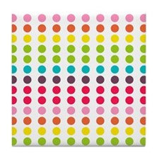 Colorful Dots Pattern 3 Tile Coaster