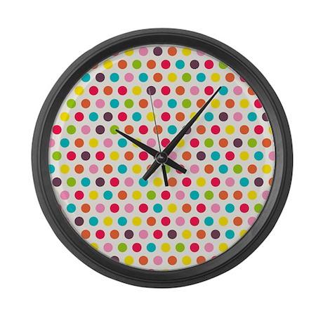 Colorful Polka Dots Pattern 3 Large Wall Clock