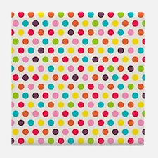 Colorful Polka Dots Pattern 3 Tile Coaster