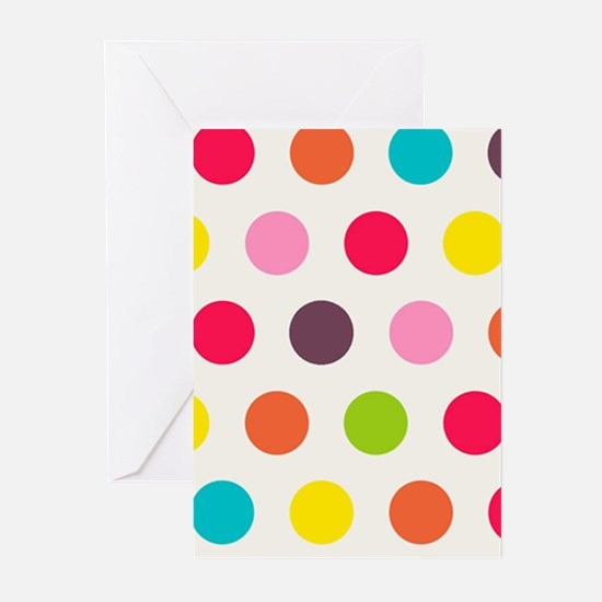 Colorful Polka Dots Pattern 3 Greeting Cards