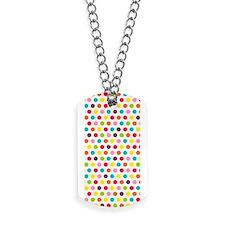 Colorful Polka Dots Pattern Dog Tags
