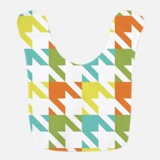 Retro Teal Green Yellow Orange Houndstooth 3 Bib
