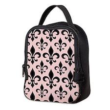 Pink and Black Fleur-de-lis Pattern 3 Neoprene Lun