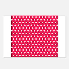 Strawberry Pink Polka Dots Pattern 3 Postcards (Pa