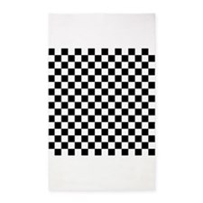 Black and White Checker Pattern 3'x5' Area Rug