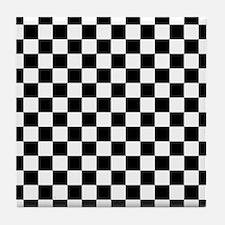 Black and White Checker Pattern Tile Coaster