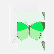Green Butterflies Greeting Cards