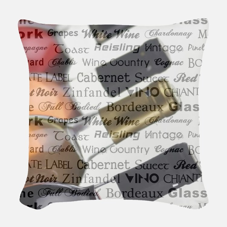 TIME FOR WINE Woven Throw Pillow