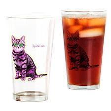 HipsterCat Drinking Glass