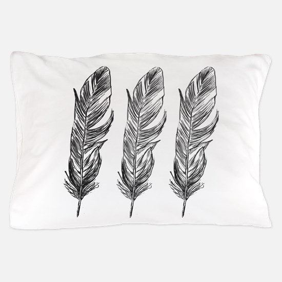 Three Feathers Pillow Case