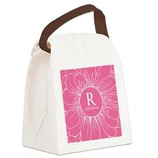 Floral Custom Monogram Canvas Lunch Bag
