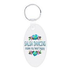 Salsa Heart Happy Aluminum Oval Keychain