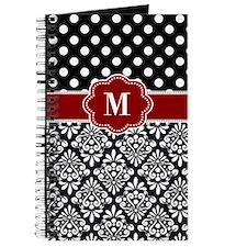 Red Black Damask Monogram Journal
