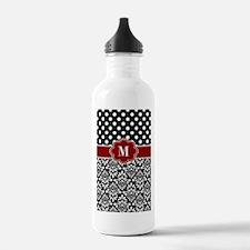 Red Black Damask Monogram Water Bottle