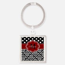 Red Black Damask Dots Personalized Keychains