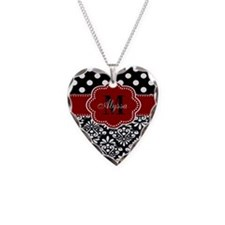 Red Black Damask Dots Personalized Necklace