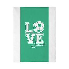 Love Soccer, Mint Green3 Twin Duvet