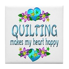 Quilting Heart Happy Tile Coaster