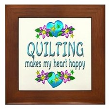 Quilting Heart Happy Framed Tile