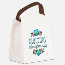 Quilting Heart Happy Canvas Lunch Bag