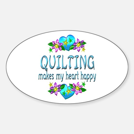 Quilting Heart Happy Sticker (Oval)