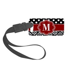 Red Black Dots Damask Monogram Luggage Tag