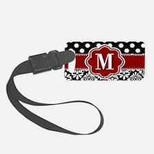 Red Black Dots Damask Monogram Luggage Tag