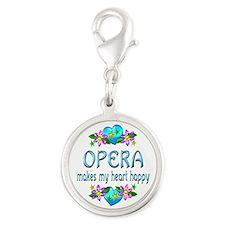 Opera Heart Happy Silver Round Charm