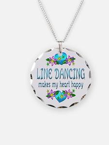 Line Dancing Heart Happy Necklace