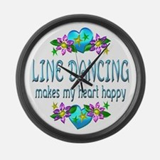 Line Dancing Heart Happy Large Wall Clock