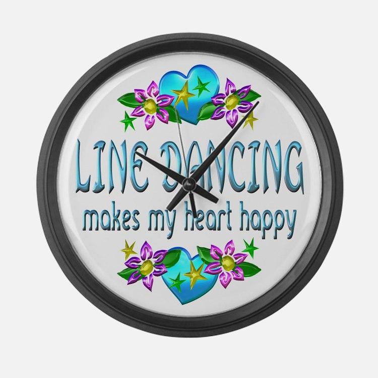 Line Dancing Heart Happy Large Wall Clock