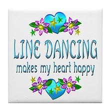 Line Dancing Heart Happy Tile Coaster