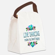 Line Dancing Heart Happy Canvas Lunch Bag