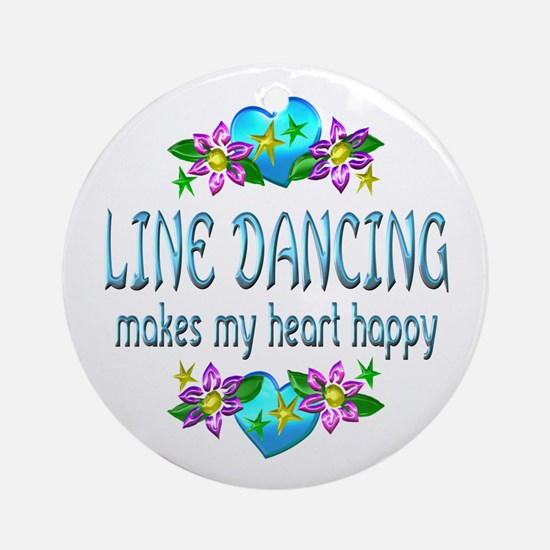 Line Dancing Heart Happy Ornament (Round)