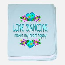 Line Dancing Heart Happy baby blanket
