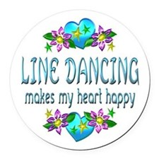 Line Dancing Heart Happy Round Car Magnet