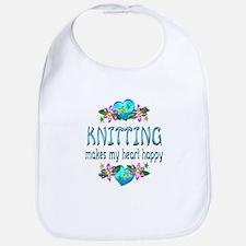 Knitting Heart Happy Bib