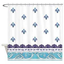 Peacock teal Background Shower Curtain