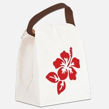 Red Hibiscus Tropical Hawaii Flow Canvas Lunch Bag