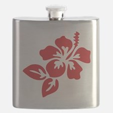 Red Hibiscus Tropical Hawaii Flower Flask