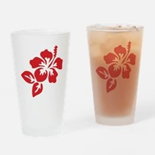 Red Hibiscus Tropical Hawaii Flower Drinking Glass