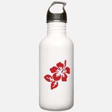 Red Hibiscus Tropical Water Bottle